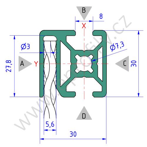 Hliníkový, konstrukční profil pro oplocení, 3842557227, 30x30 WG30, Balení (20ks)