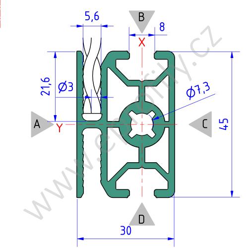 Hliníkový, konstrukční profil pro oplocení, 3842557228, 30x45 WG30, Balení (20ks)