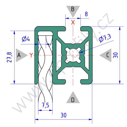 Hliníkový, konstrukční profil pro oplocení, 3842522464, 30x30 WG40, Balení (20ks)