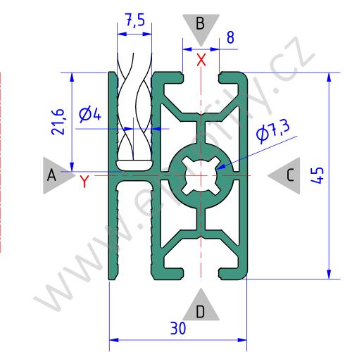 Hliníkový, konstrukční profil pro oplocení, 3842557240, 30x45 WG40, Balení (20ks)
