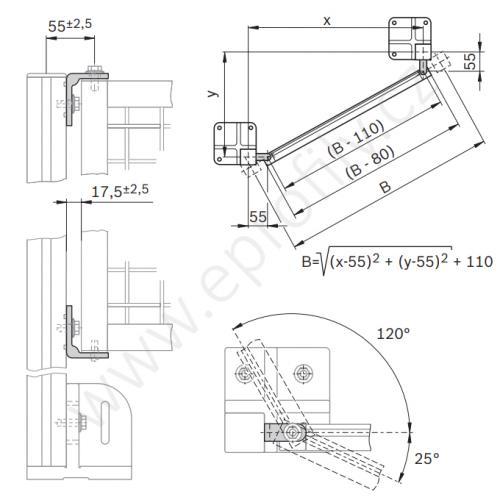 Úhelník pro závěs rámů EcoSafe, 3842522481, set  4ks, (1ks)