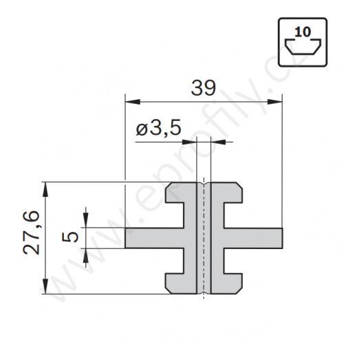 Kluzák středový s drážkou, 3842523205, N10, (1ks)