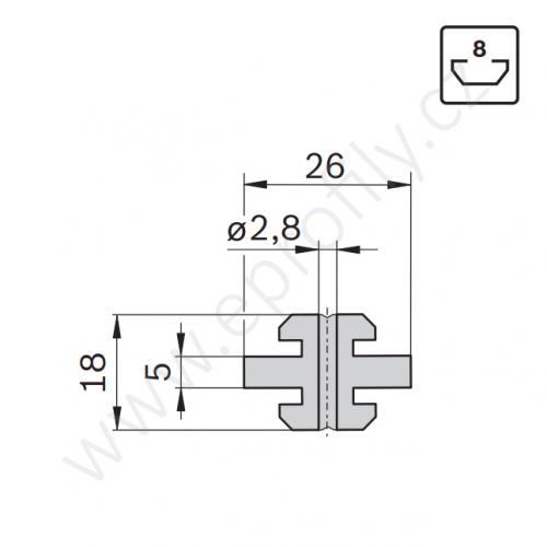 Kluzák středový s drážkou, 3842523209, N8, (1ks)
