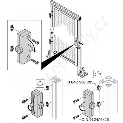 Zámek dveří na profil 30x30 WG, 3842523320, jednotné klíče (univerzální), (1ks)