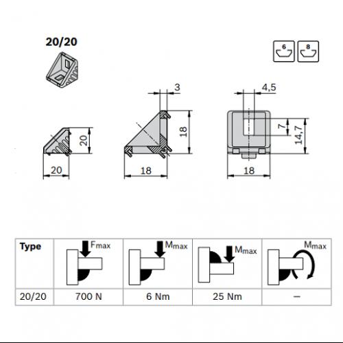 Spojovací úhelník 90° vnější, ESD, 3842523508, 20x20, Balení (100ks)
