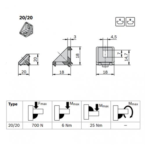 Spojovací úhelník 90° vnější, ESD, 3842523508, 20x20, (1ks)