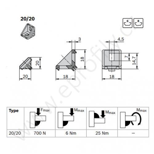 Spojovací úhelník 90° vnější - SET, ESD, 3842523511, 20x20; N6/N6, (1ks)