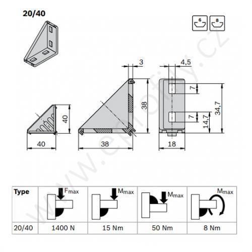 Spojovací úhelník 90° vnější, ESD, 3842523517, 20x40, Balení (20ks)