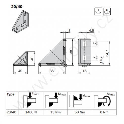 Spojovací úhelník 90° vnější - SET, ESD, 3842523520, 20x40; N6/N6, (1ks)
