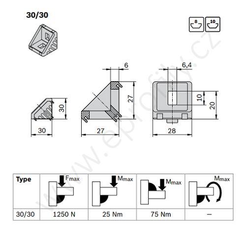 Spojovací úhelník 90° vnější - SET, ESD, 3842523530, 30x30; N8/N10, (1ks)