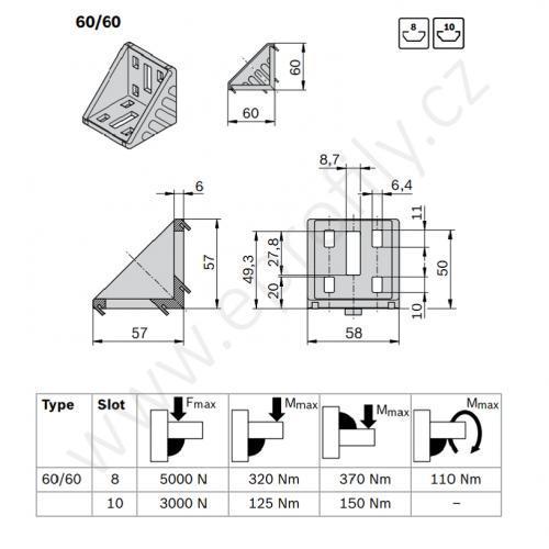 Spojovací úhelník 90° vnější, ESD, 3842523546, 60x60, Balení (20ks)