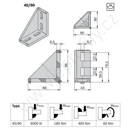 Spojovací úhelník 90° vnější, ESD, 3842523567, 45x90, (1ks)