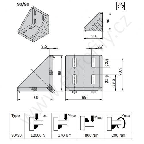 Spojovací úhelník 90° vnější - SET, ESD, 3842523578, 90x90; N10/N10, (1ks)