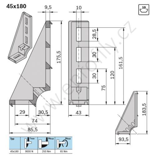 Spojovací úhelník 90° vnější, ESD, 3842523583, 45x180, (1ks)