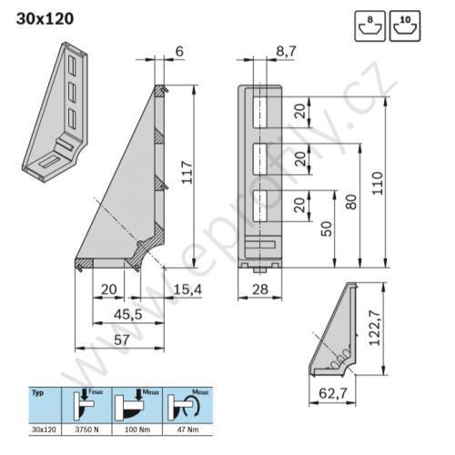 Spojovací úhelník 90° vnější, ESD, 3842523587, 30x120, Balení (20ks)