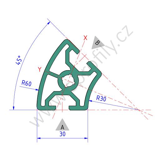 Hliníkový, konstrukční profil, 3842524034, 30x45°, Balení (20ks)