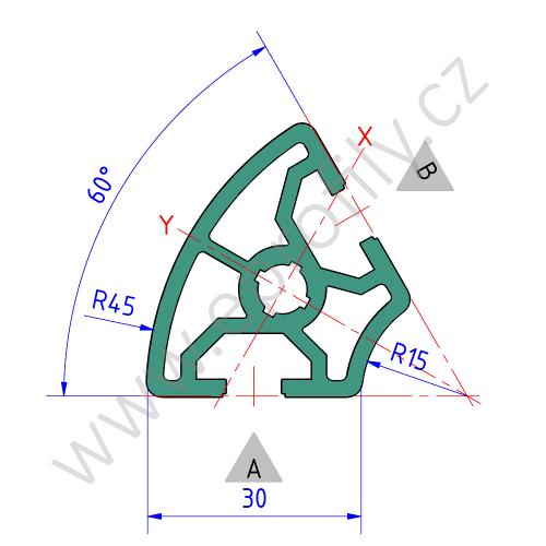 Hliníkový, konstrukční profil, 3842524037, 30x60°, Balení (20ks)