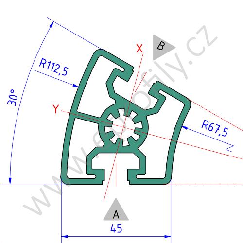 Hliníkový, konstrukční profil, 3842524040, 45x30°, Balení (20ks)