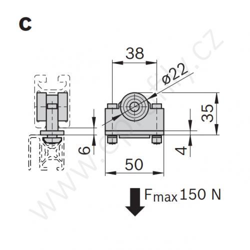 Multifunkční kluzák do profilu, 3842524153, 30x45C, (1ks)