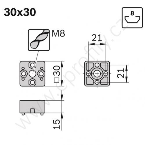 Spojka T - SET, ESD, 3842524476, 30x30, (1ks)