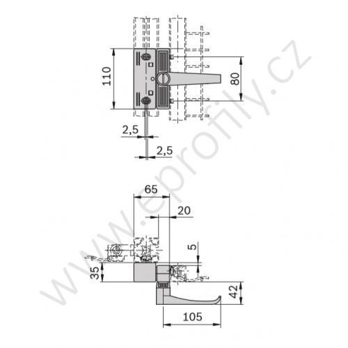 Zámek pro posuvné dveře EcoSafe, 3842525946, rozdílné klíče (unikátní), (1ks)