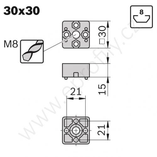 Koncová spojka - SET, ESD, 3842526003, 30x30, (1ks)