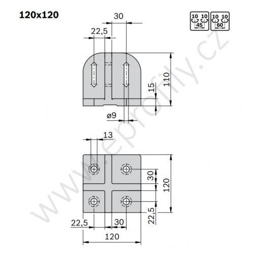 Patka profilové stojky, ESD, 3842527553, 120x120, (1ks)