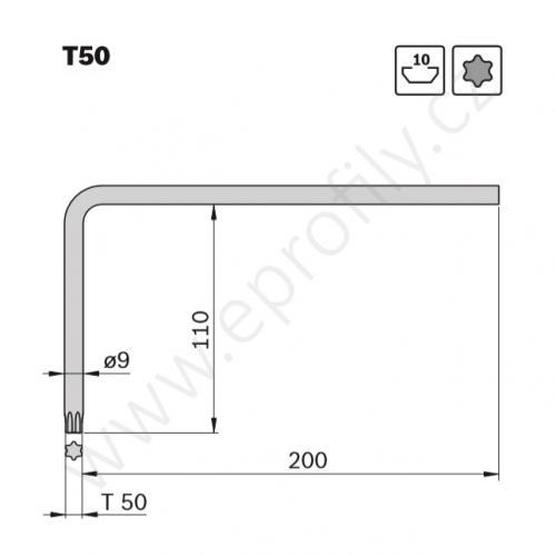 Ofsetový klíč Torx - T50, 3842528586, L=200 mm, (1ks)