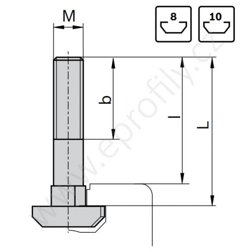Šroub s T-hlavou do drážky, ESD, 3842528721, N10 M8x30, Balení (100ks)