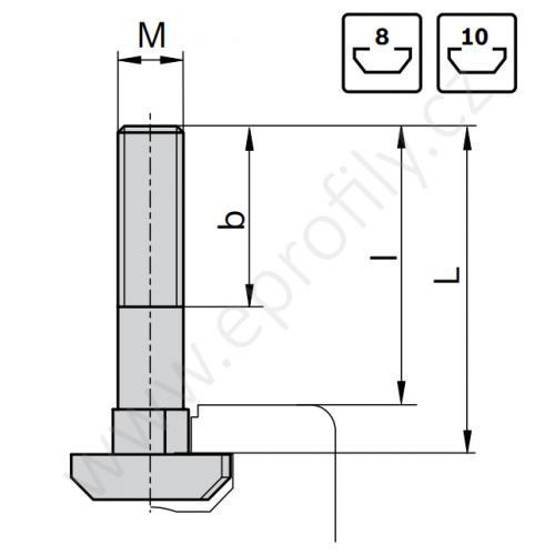 Šroub s T-hlavou do drážky, ESD, 3842528730, N10 M8x60, (1ks)