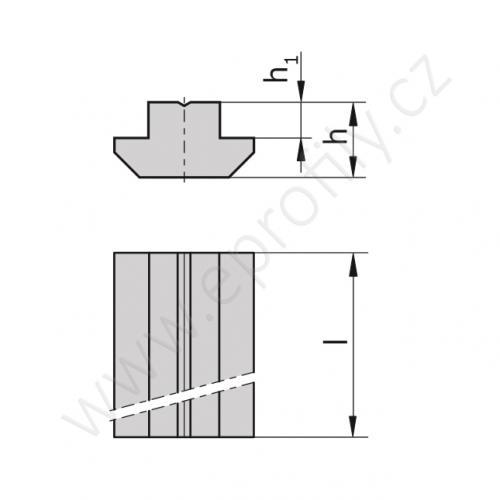 Kámen těžký do drážky - profil 1000 mm, 3842528744, N10 L=1000, (1ks)