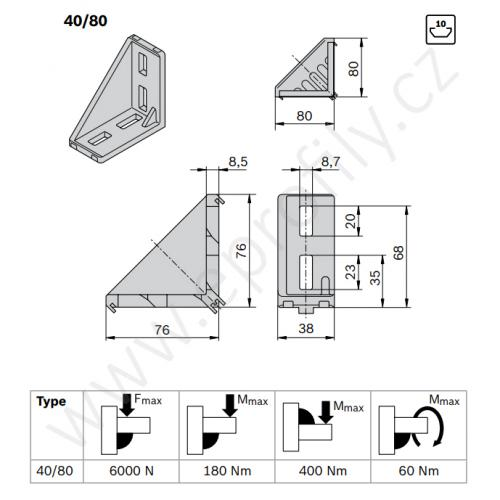 Spojovací úhelník 90° vnější, ESD, 3842529005, 40x80, (1ks)