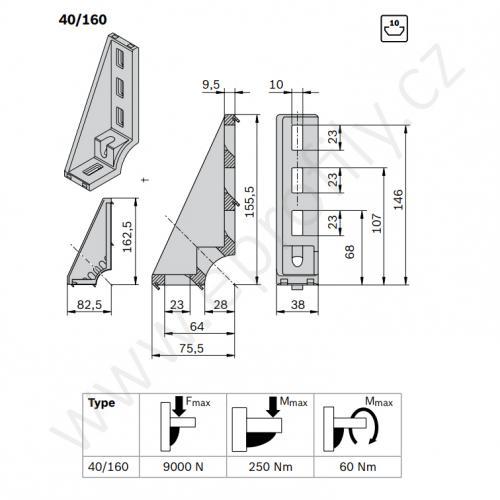 Spojovací úhelník 90° vnější, ESD, 3842529006, 40x160, (1ks)