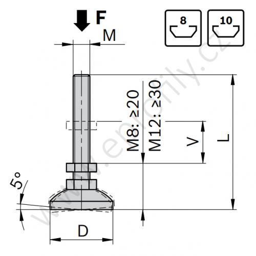 Vyrovnávací noha ocelová, pozinkovaná, ESD, 3842529025, D30 M12x72, (1ks)