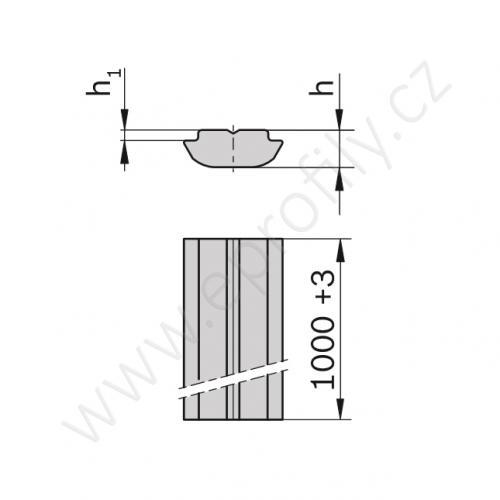 Kámen lehký pro vložení do drážky - profil 1000 mm, 3842529325, N10 L=1000, (1ks)