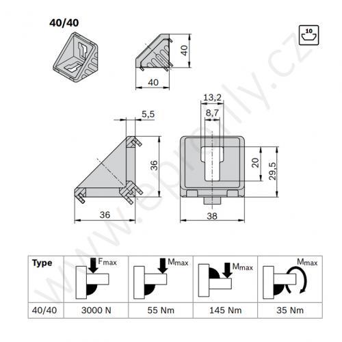 Spojovací úhelník 90° vnější - SET, ESD, 3842529383, 40x40; N10/N10, (1ks)