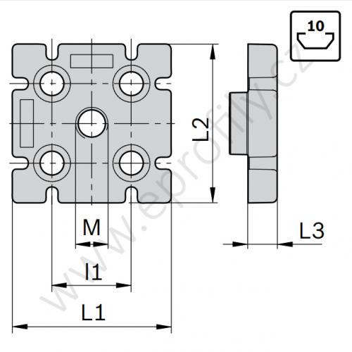 Deska se závitem pro nohu, 3842529416, 80x80L, M12, (1ks)