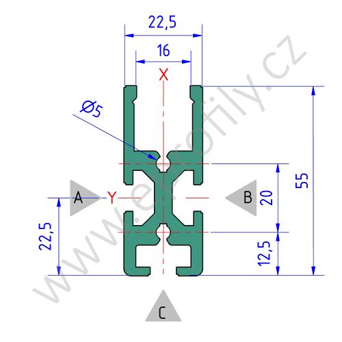 Hliníkový dráhový profil dopravníku TS, 3842557245, SP1, Balení (20ks)