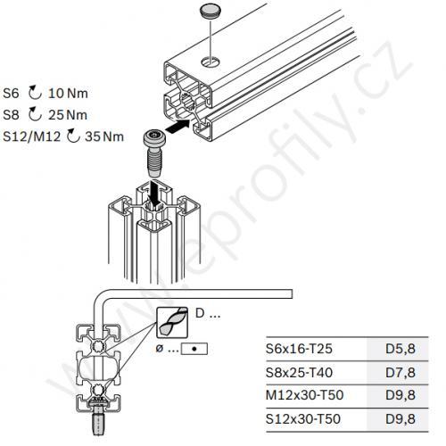 Centrální šroub samotvarovací, ESD, 3842530236, S12x30-T50, (1ks)