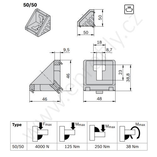 Spojovací úhelník 90° vnější - SET, ESD, 3842530259, 50x50; N10/N10, (1ks)
