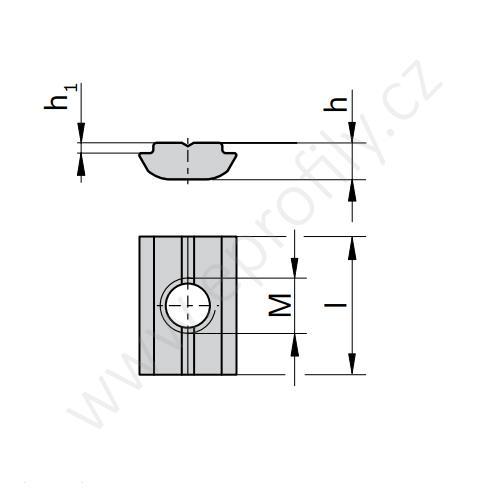 Kámen lehký pro vložení do drážky - nerez, 3842530321 N8 M6, (1ks)