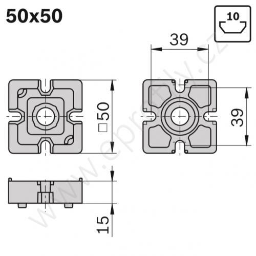 Spojka T - SET, ESD, 3842532198, 50x50, (1ks)