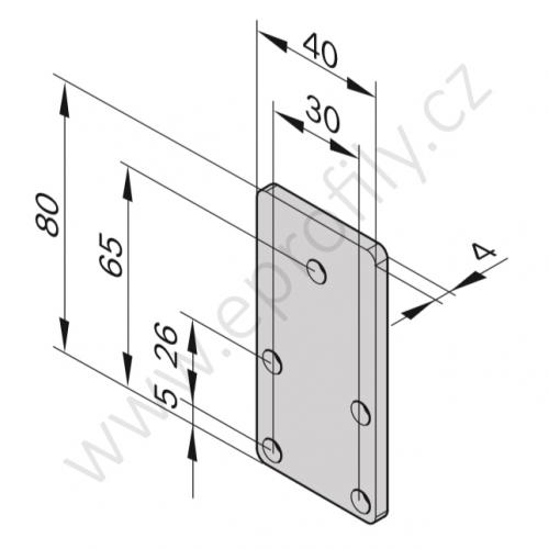 Zakončení kolejnice se zarážkou, ESD, 3842535121, 40x80, (1ks)