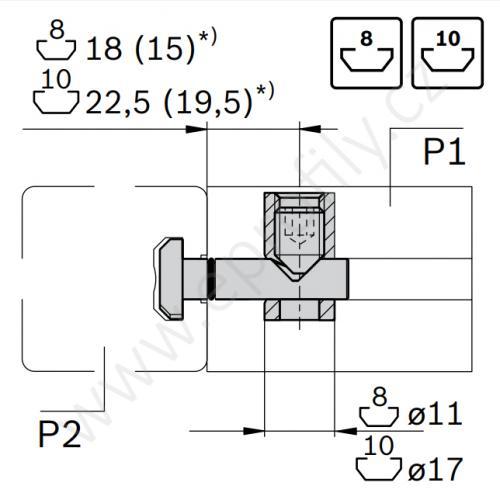 Rychlospojka pro kolmý spoj profilů, ESD, 3842535458, N10/N10; 0°, (1ks)