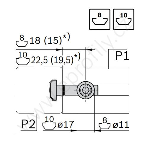 Rychlospojka pro kolmý spoj profilů, ESD, 3842535465, N8/N8; 90°, (1ks)