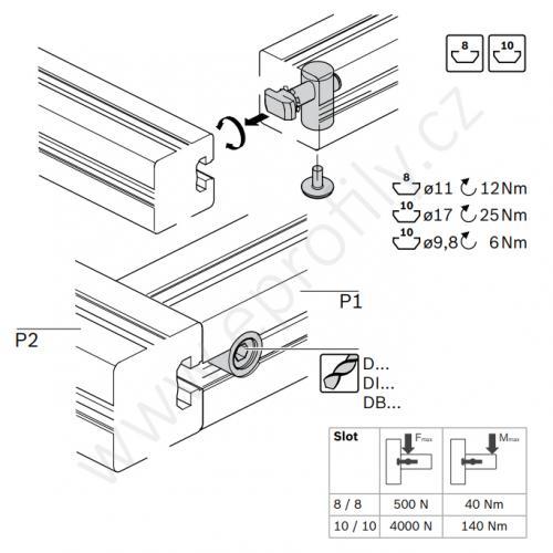 Rychlospojka pro kolmý spoj profilů, ESD, 3842535466, N10/N10; 90°, Balení (10ks)