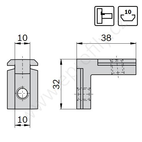Vnitřní úhelník do drážky R, ESD, 3842535571, N10/N10, (1ks)