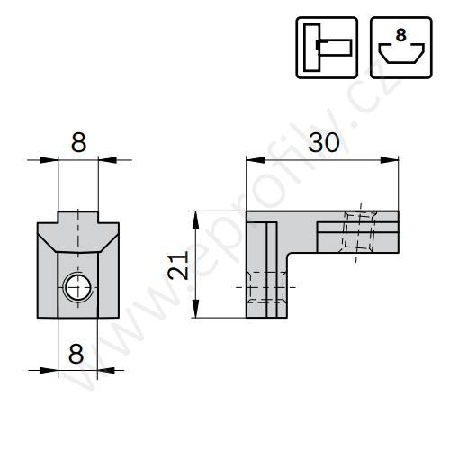 Vnitřní úhelník do drážky, ESD, 3842535578, N8/N8, (1ks)