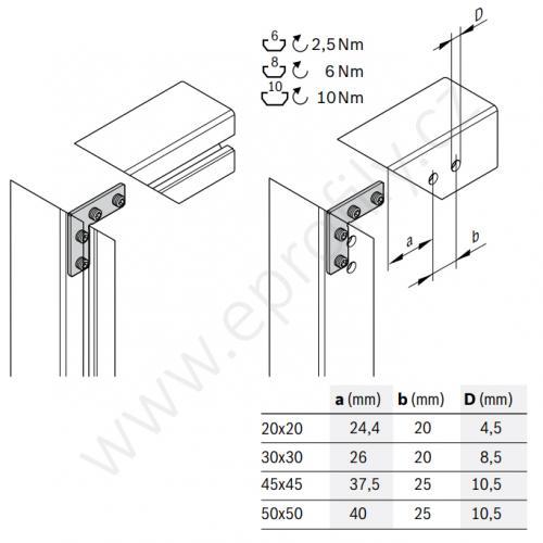 2D rohová spojka, ESD, 3842535625, N10, (1ks)