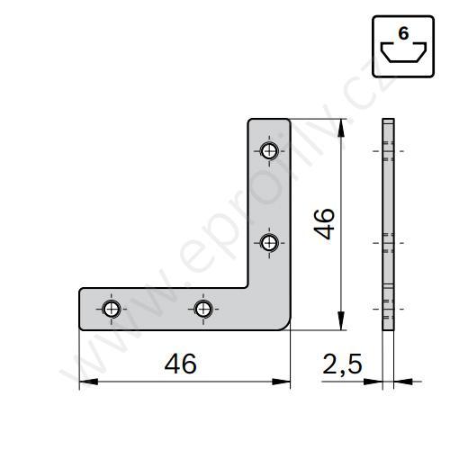 2D rohová spojka, ESD, 3842535626, N6, (1ks)